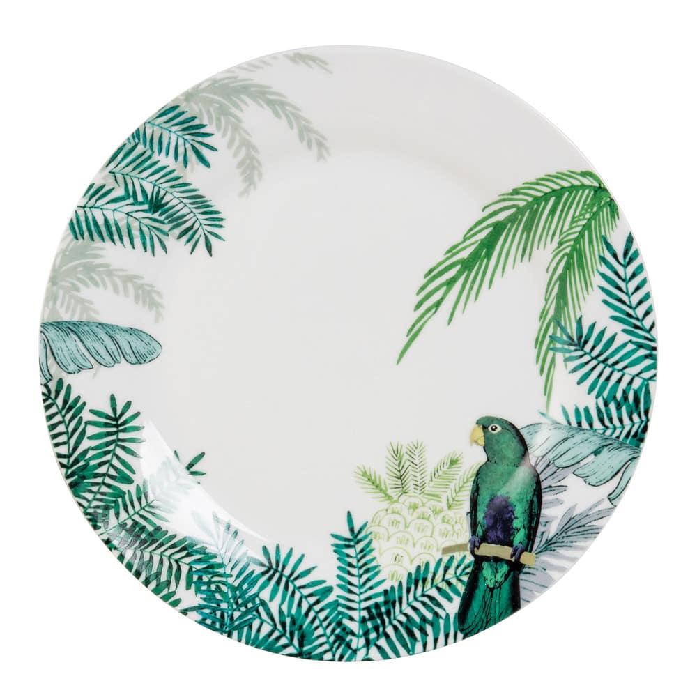 assiette plate en porcelaine imprim tropical perroquet. Black Bedroom Furniture Sets. Home Design Ideas