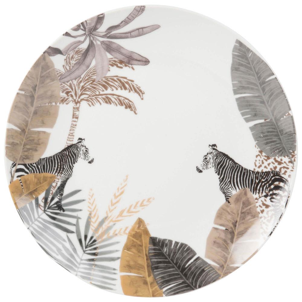 Assiette Plate En Porcelaine Imprime Zebre Maisons Du Monde