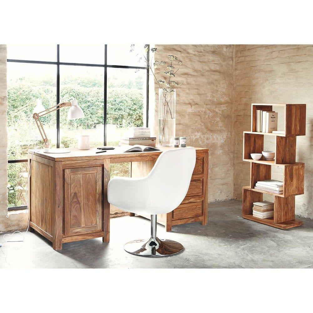 asymmetrisches regal mit 4 f chern aus massivem sheesham. Black Bedroom Furniture Sets. Home Design Ideas