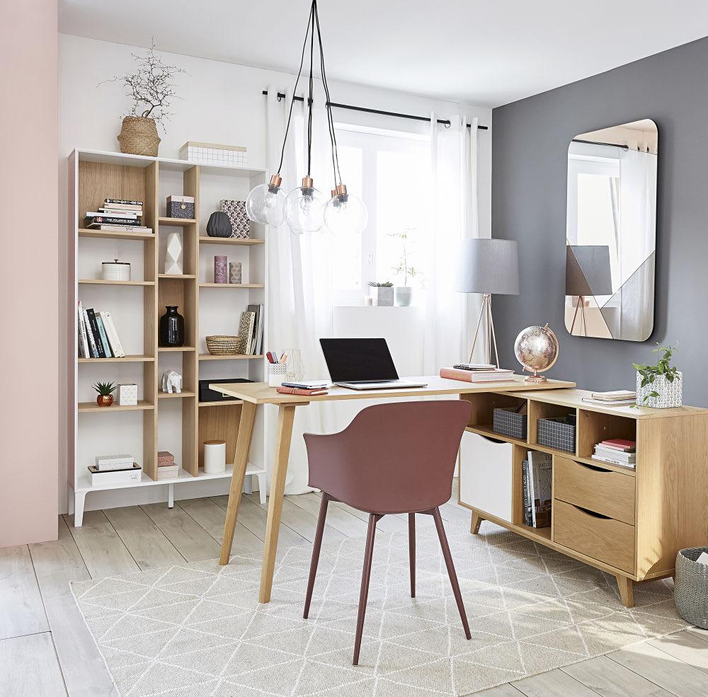 asymmetrisches zweifarbig regal mit 15 f chern kara. Black Bedroom Furniture Sets. Home Design Ideas