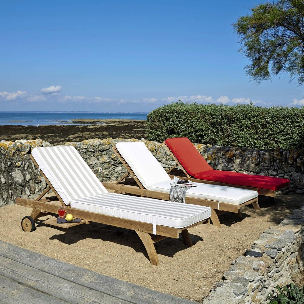 auflage f r sonnenliege wei und beige gestreift escale. Black Bedroom Furniture Sets. Home Design Ideas