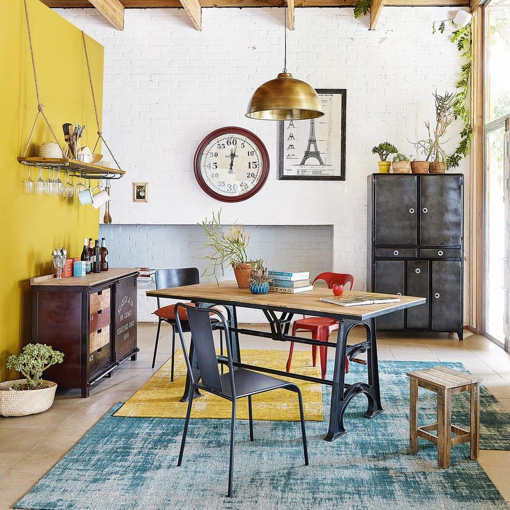 ausziehbarer esstisch im industrie stil 8 bis 10 personen. Black Bedroom Furniture Sets. Home Design Ideas