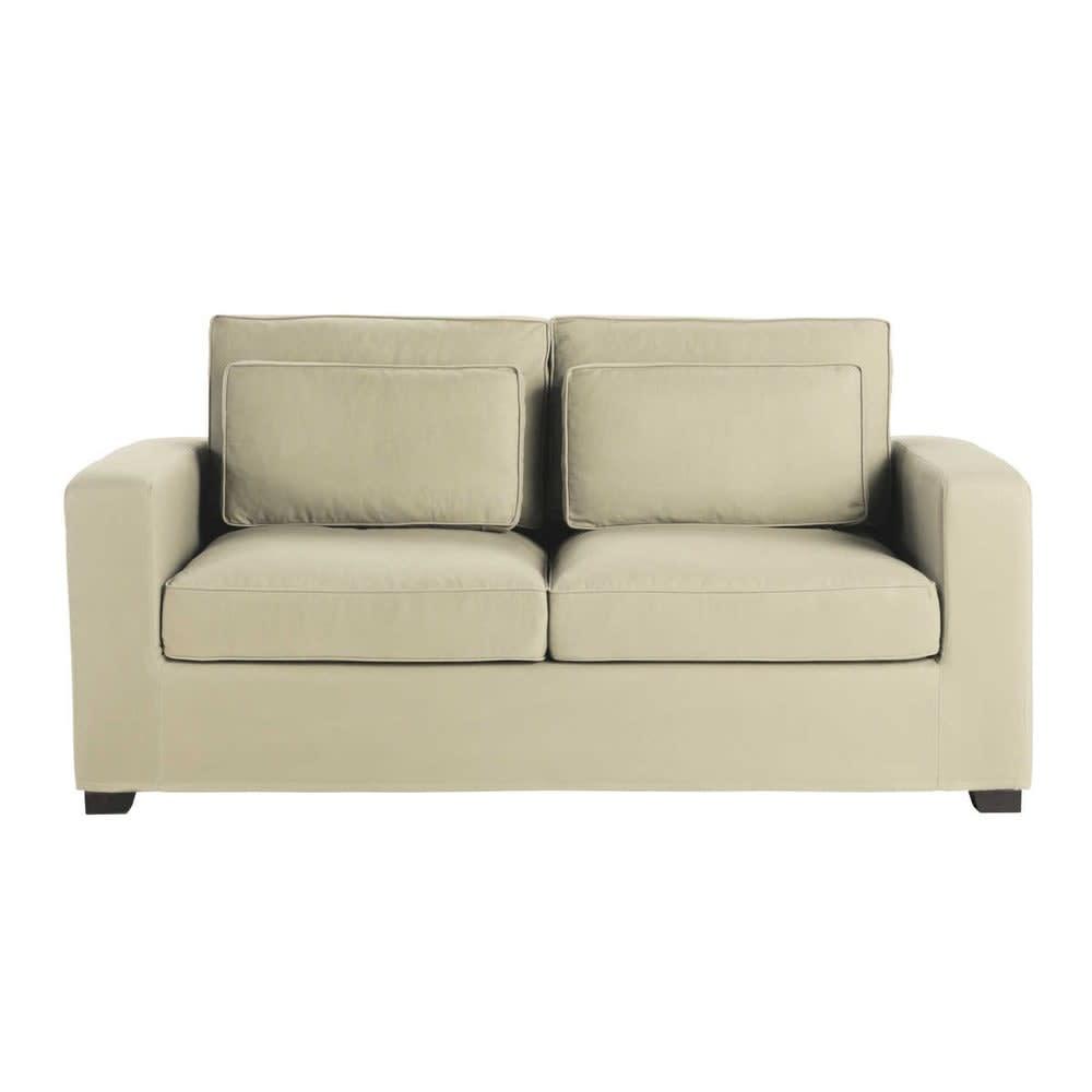 ausziehbares 2 3 sitzer sofa aus baumwolle graubeige. Black Bedroom Furniture Sets. Home Design Ideas