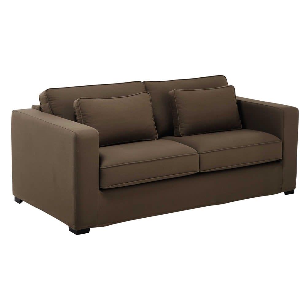 ausziehbares 2 3 sitzer sofa aus baumwolle taupefarbener. Black Bedroom Furniture Sets. Home Design Ideas