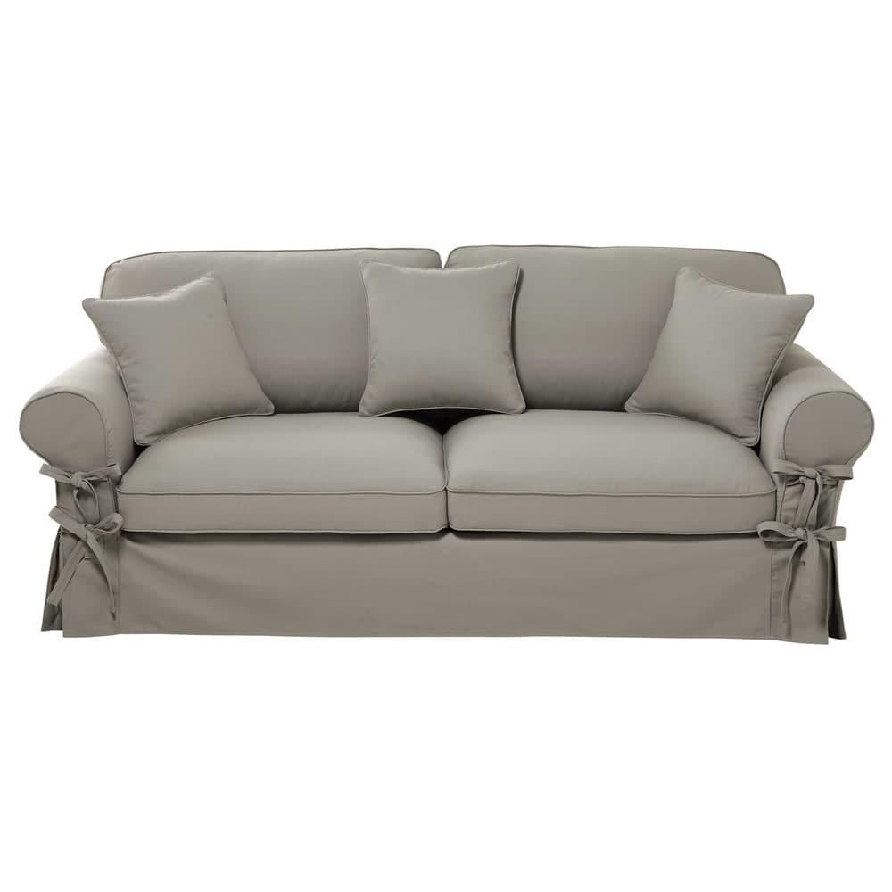 ausziehbares 3 4 sitzer sofa aus baumwolle hellgrau. Black Bedroom Furniture Sets. Home Design Ideas