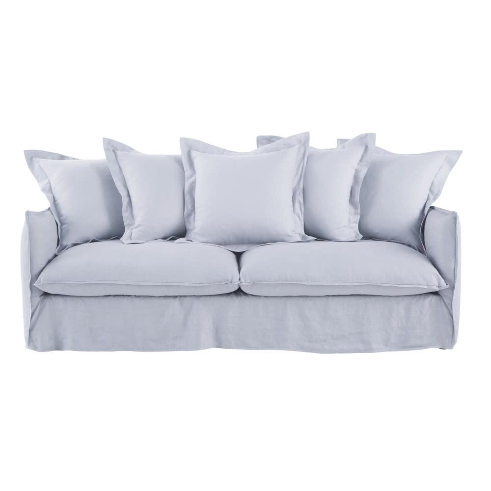 Ausziehbares 3 4 Sitzer Sofa Bezug Aus Gewaschenem Leinen Wolkengrau