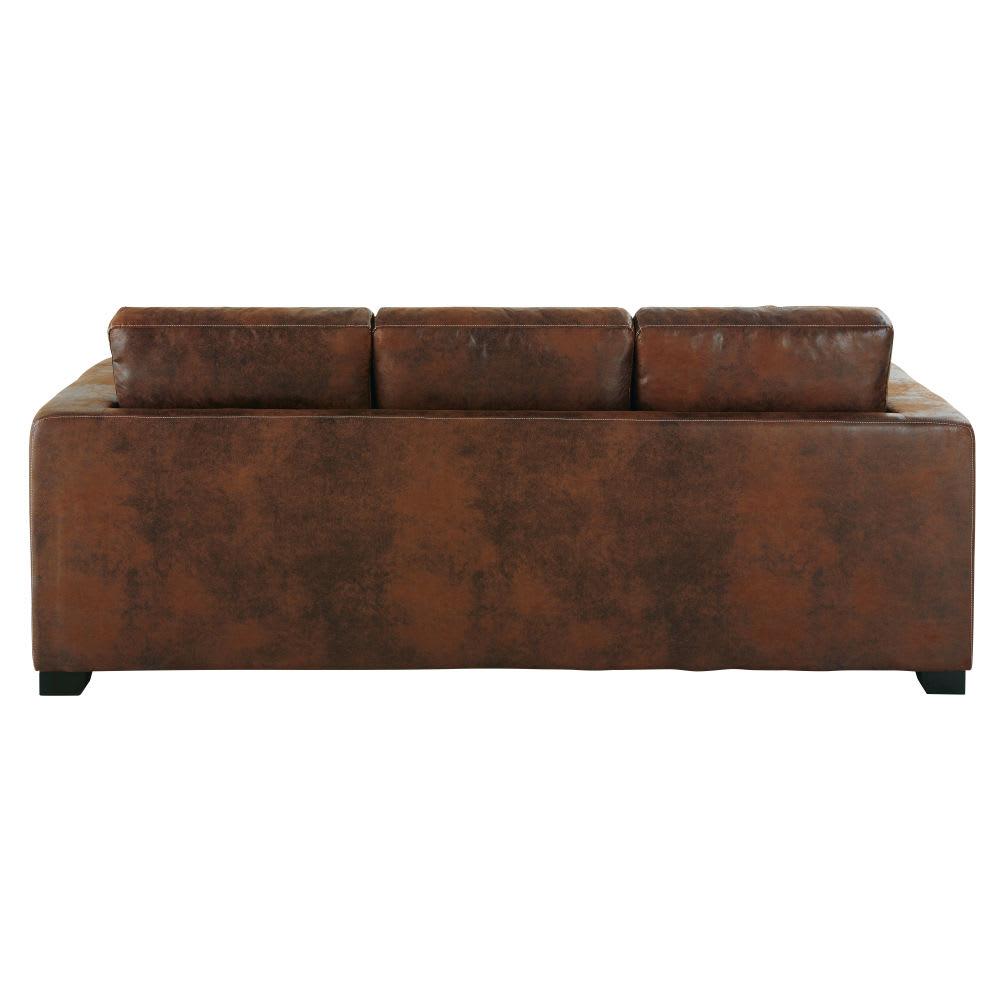 Ausziehbares 3 Sitzer Sofa Aus Wildlederimitat Braun Kennedy
