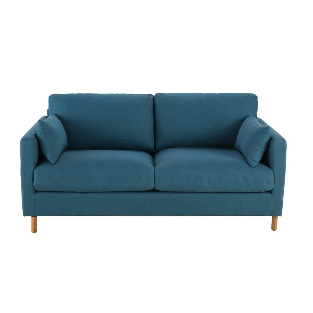 ausziehbares 3 sitzer sofa petrolblau julian maisons du. Black Bedroom Furniture Sets. Home Design Ideas