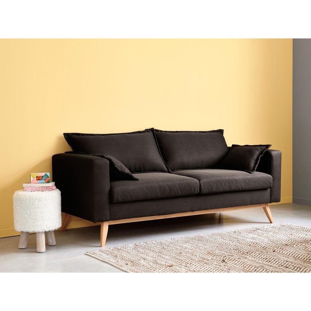 Ausziehbares Sofa 3 Sitzig Aus Stoff Schiefergrau Duke Maisons Du