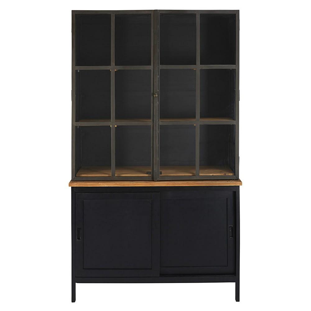 bahut 4 portes en manguier et acacia noir henrik maisons. Black Bedroom Furniture Sets. Home Design Ideas