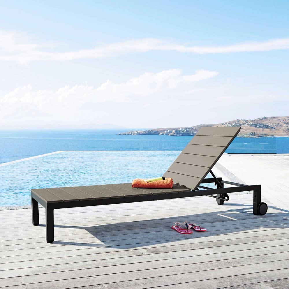 bain de soleil roulettes en aluminium anthracite escale. Black Bedroom Furniture Sets. Home Design Ideas