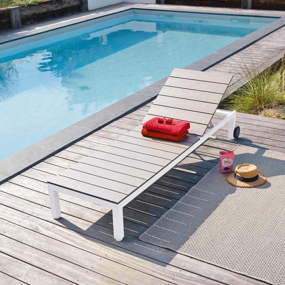 bain de soleil roulettes en aluminium et composite escale maisons du monde. Black Bedroom Furniture Sets. Home Design Ideas