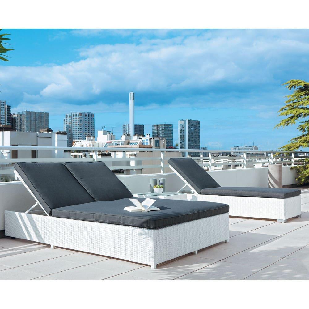 bain de soleil double en r sine tress e blanc antibes. Black Bedroom Furniture Sets. Home Design Ideas