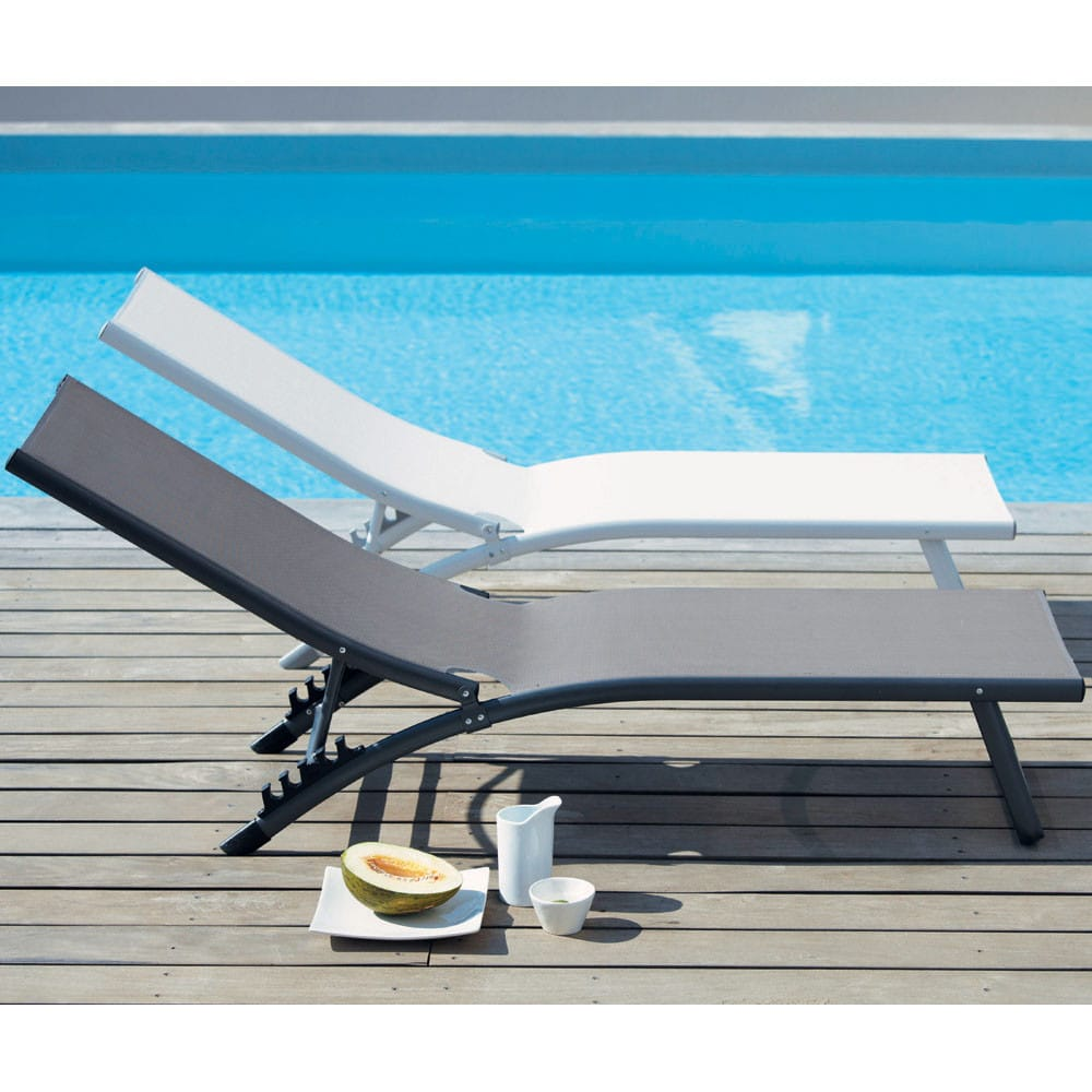 bain de soleil en aluminium taupe hurghada maisons du monde. Black Bedroom Furniture Sets. Home Design Ideas