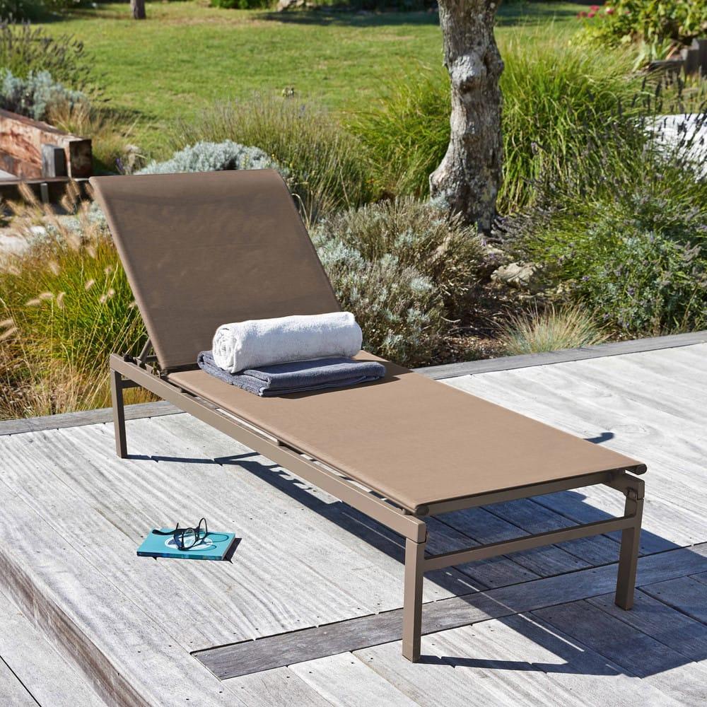 bain de soleil en m tal et toile plastifi e taupe solar. Black Bedroom Furniture Sets. Home Design Ideas
