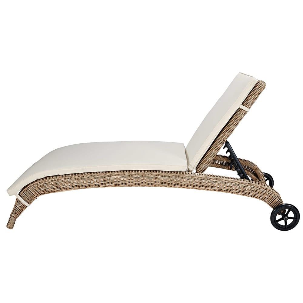 bain de soleil en r sine tress e et coussin cru cigale. Black Bedroom Furniture Sets. Home Design Ideas