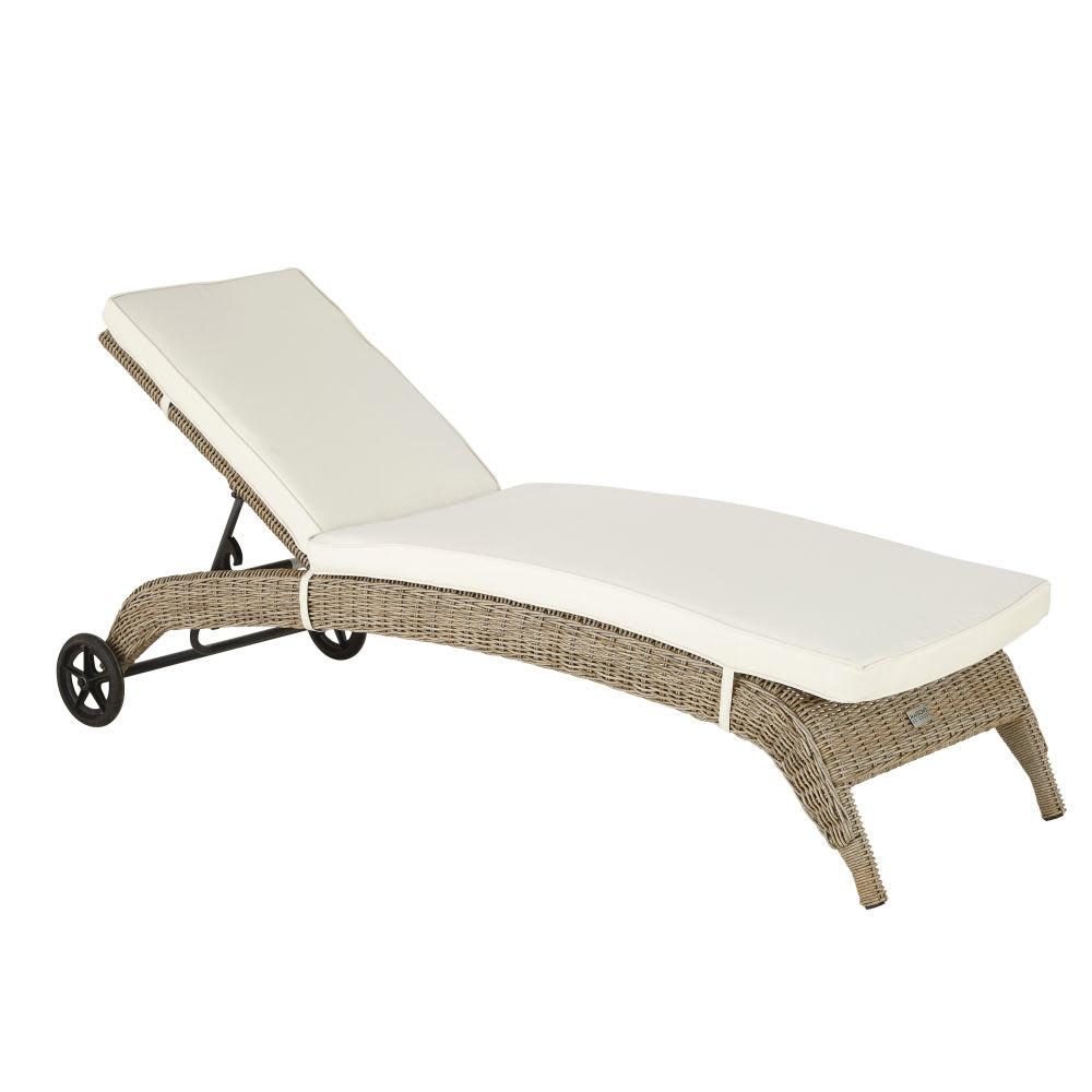 bain de soleil en r sine tress e et toile crue st rapha l. Black Bedroom Furniture Sets. Home Design Ideas