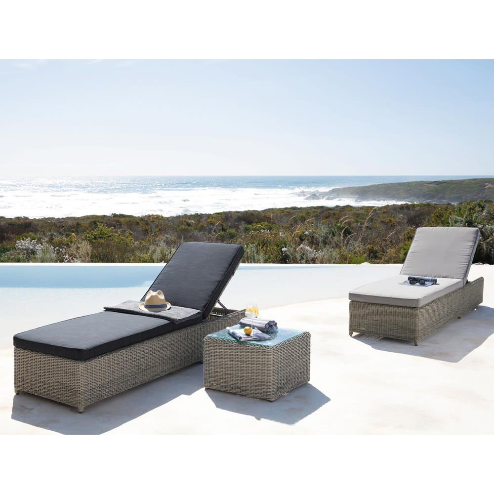 bain de soleil en r sine tress e grise cape town maisons du monde. Black Bedroom Furniture Sets. Home Design Ideas
