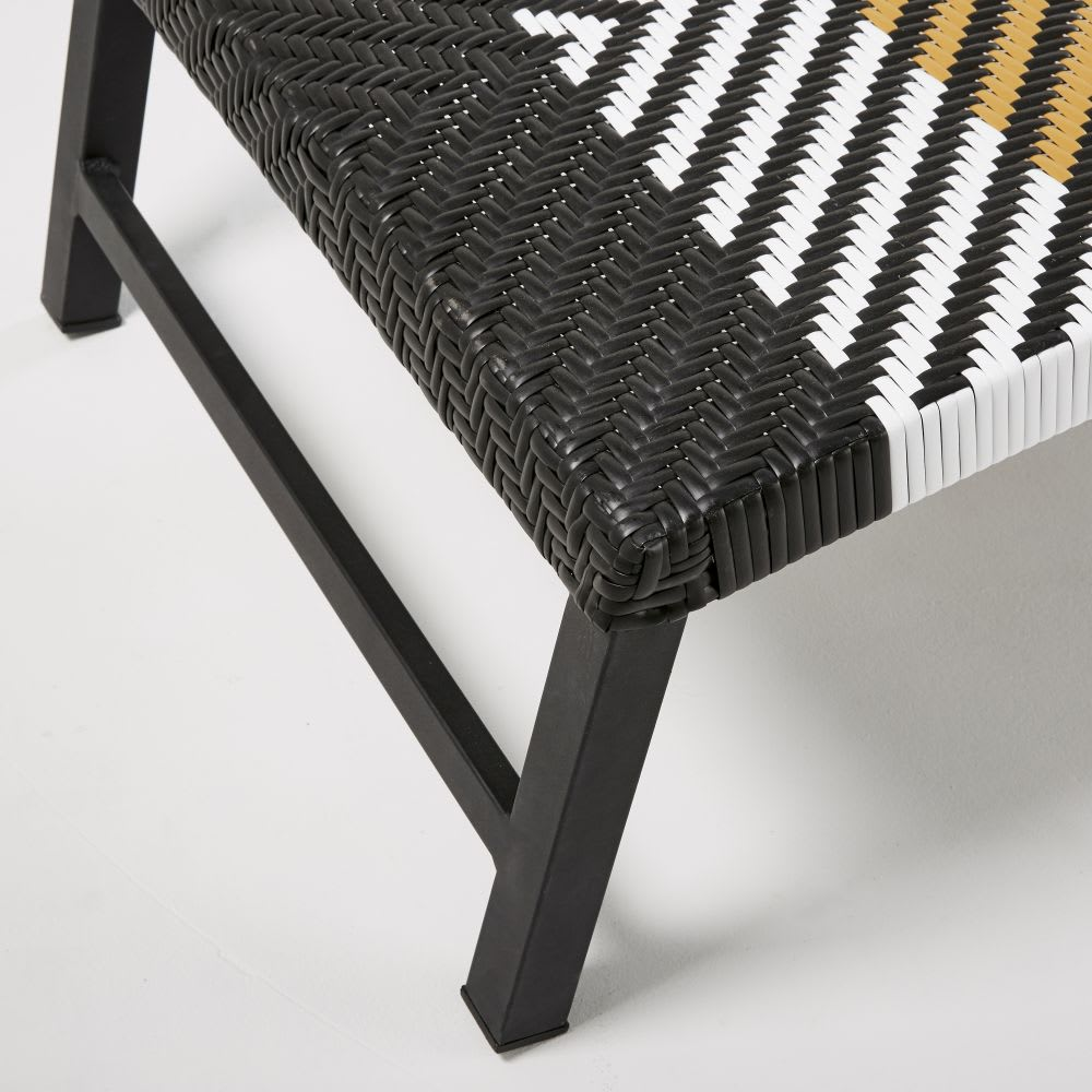 bain de soleil en r sine tress e motifs noir blanc et. Black Bedroom Furniture Sets. Home Design Ideas