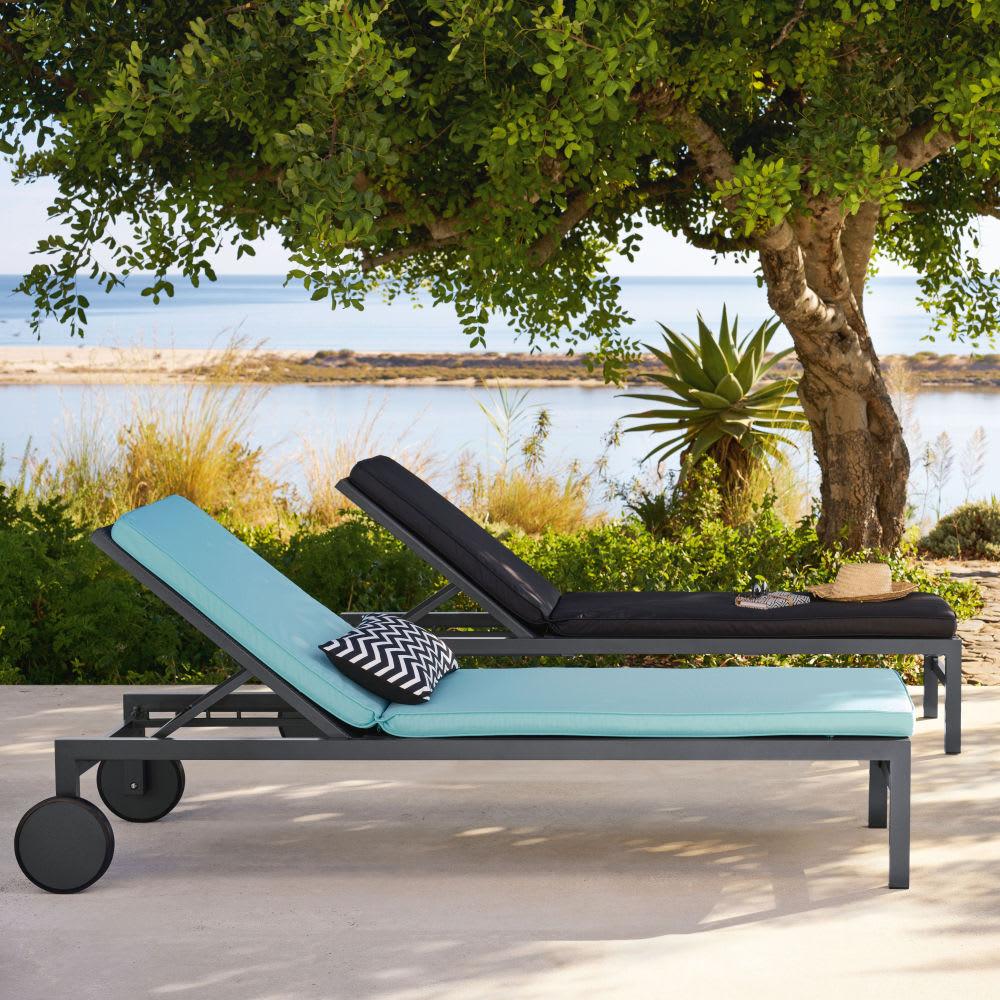 bain de soleil en toile plastifi e gris anthracite antalya. Black Bedroom Furniture Sets. Home Design Ideas