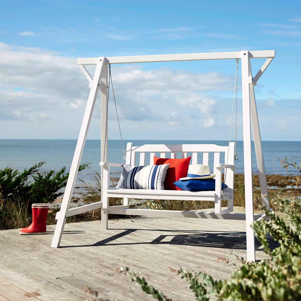 balancelle de jardin en bois blanche l 184 cm port blanc. Black Bedroom Furniture Sets. Home Design Ideas