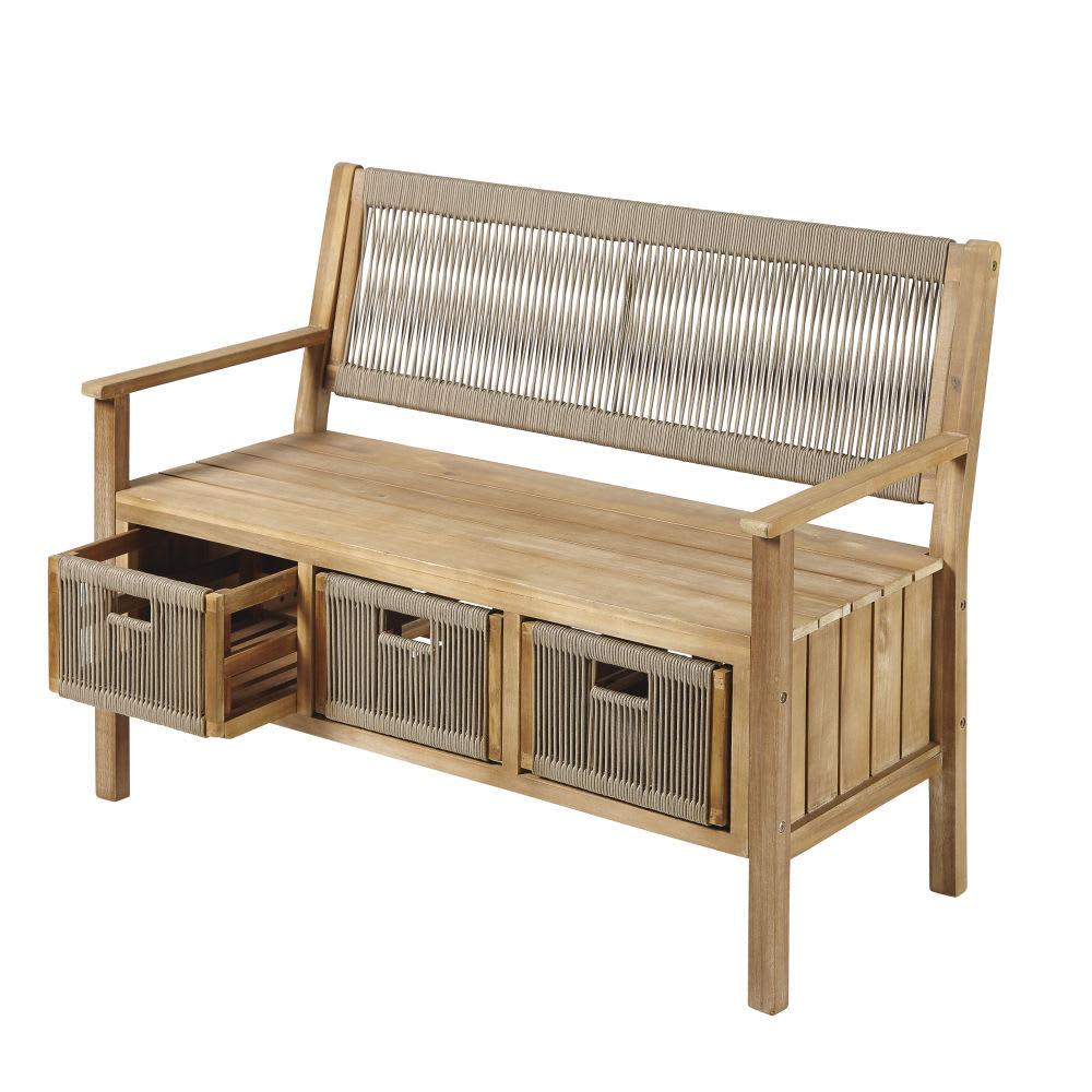 banc de rangement d 39 ext rieur en corde taupe et acacia. Black Bedroom Furniture Sets. Home Design Ideas