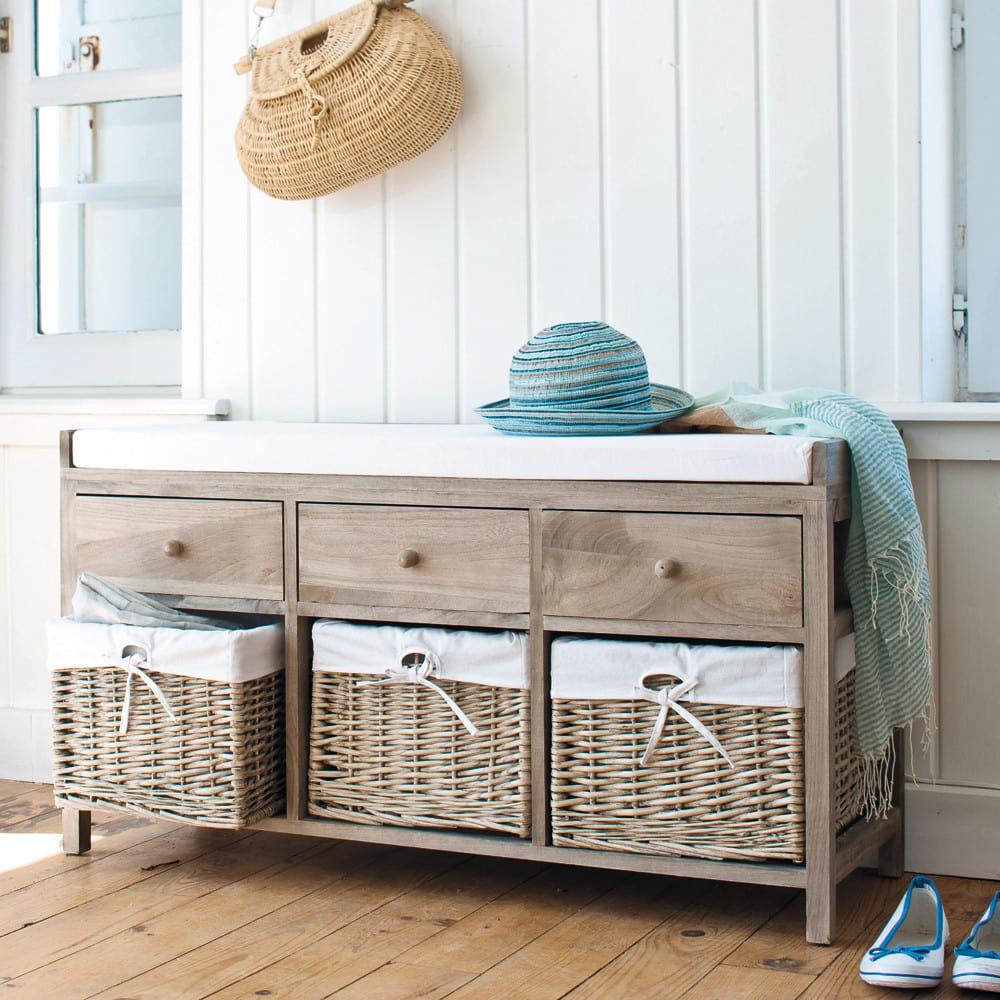 bank aus holz und baumwolle mit schubladen und stauf chern. Black Bedroom Furniture Sets. Home Design Ideas