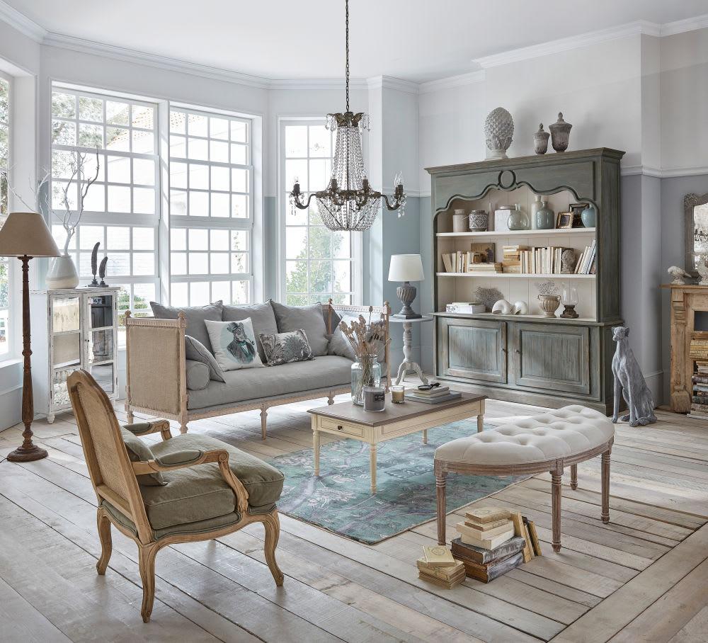 banquette 2 places capitonn e en coton et lin cru. Black Bedroom Furniture Sets. Home Design Ideas
