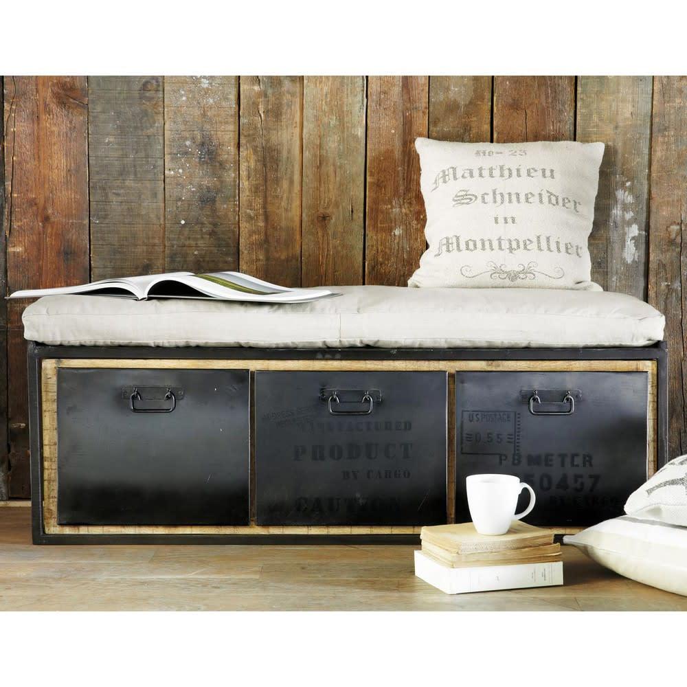 banquette 2 places en coton gris clair manufacture. Black Bedroom Furniture Sets. Home Design Ideas