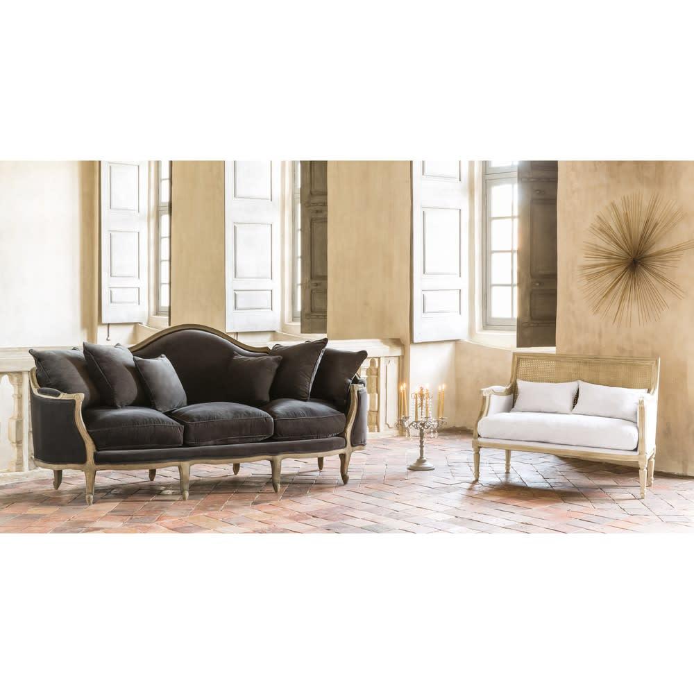 banquette 2 places en lin blanc casanova maisons du monde. Black Bedroom Furniture Sets. Home Design Ideas