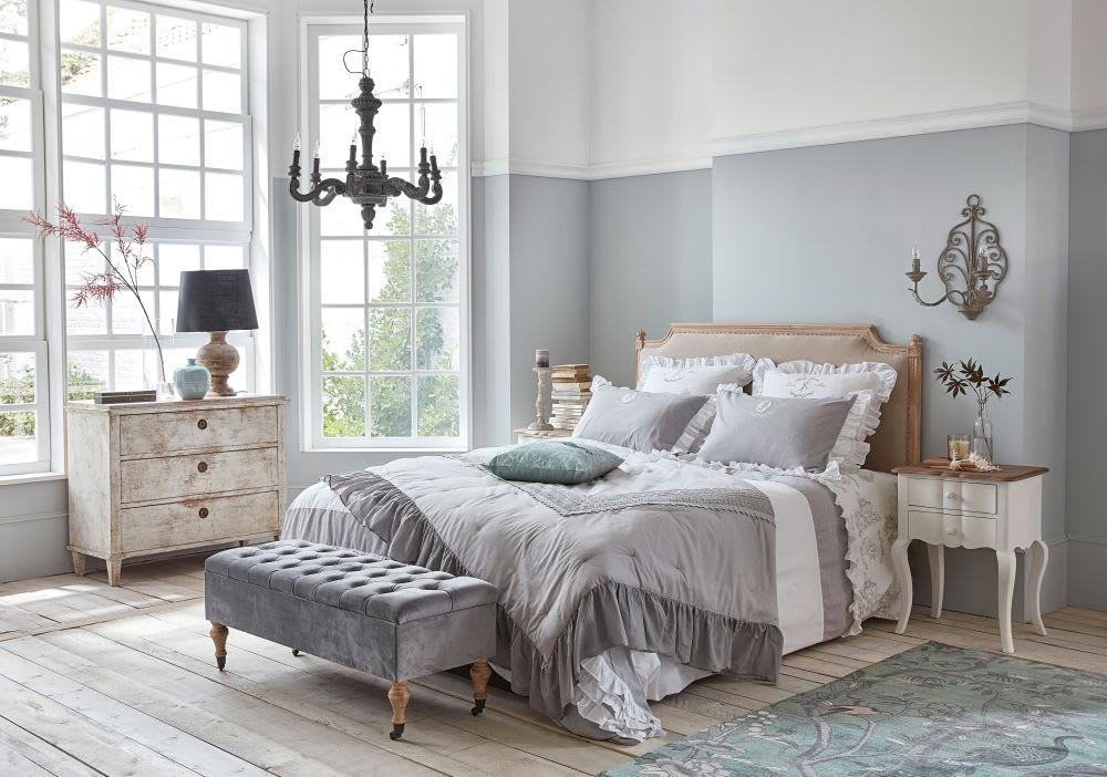 banquette coffre 2 places en velours gris floriana. Black Bedroom Furniture Sets. Home Design Ideas