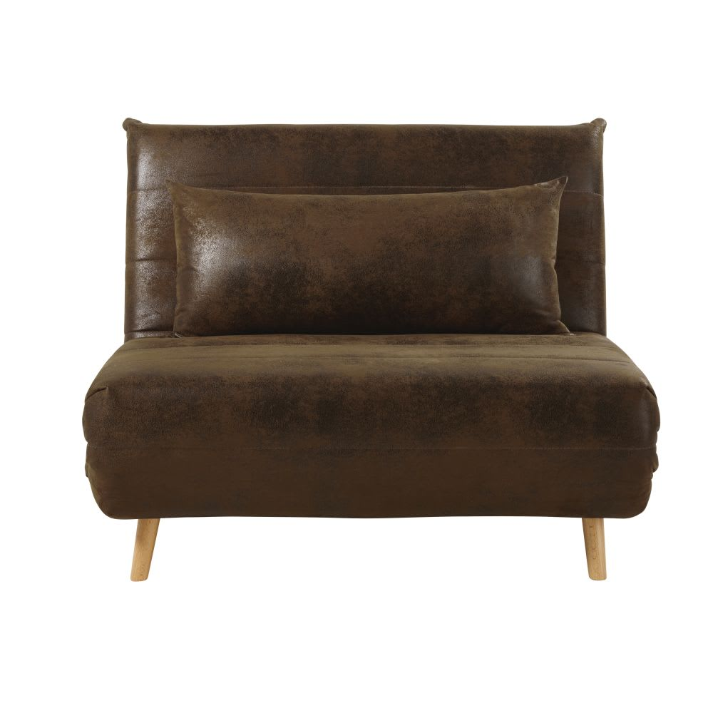 banquette convertible 1 place en su dine marron nio. Black Bedroom Furniture Sets. Home Design Ideas