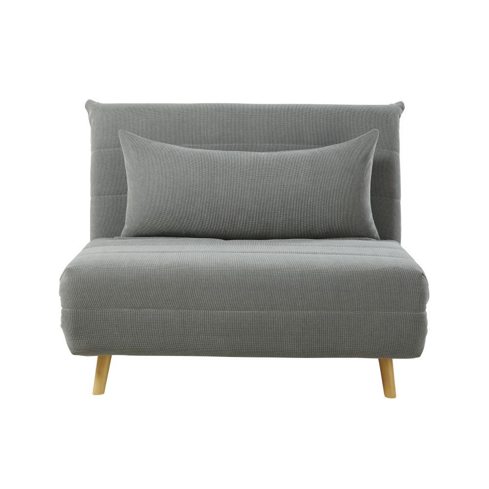 banquette convertible 1 place gris clair nio maisons du. Black Bedroom Furniture Sets. Home Design Ideas