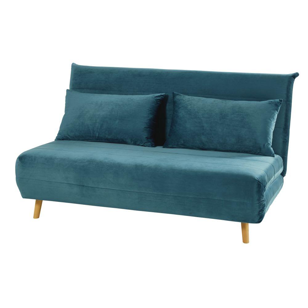 banquette convertible 2 places en velours bleu p trole nio. Black Bedroom Furniture Sets. Home Design Ideas