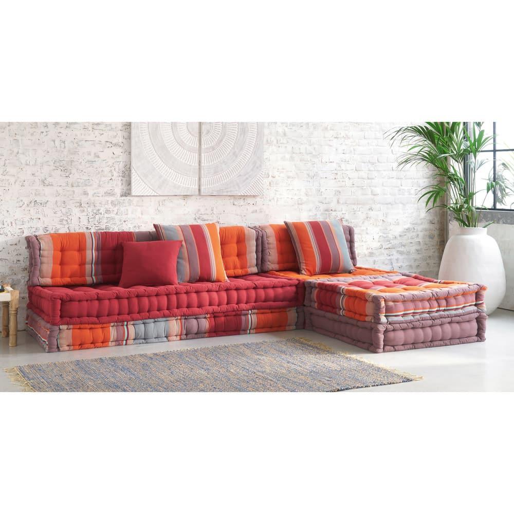 banquette d 39 angle 6 places en coton multicolore cancun. Black Bedroom Furniture Sets. Home Design Ideas