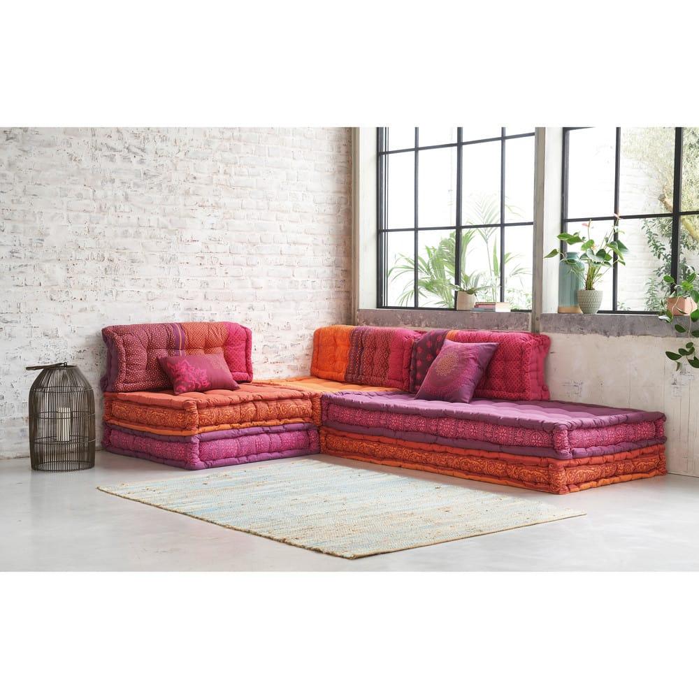 banquette d 39 angle modulable 6 places en coton madurai. Black Bedroom Furniture Sets. Home Design Ideas