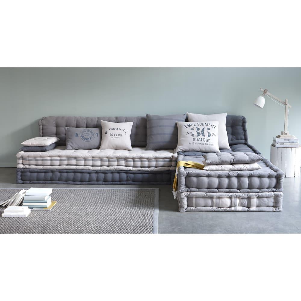 banquette d 39 angle modulable 6 places en coton gris iroise. Black Bedroom Furniture Sets. Home Design Ideas