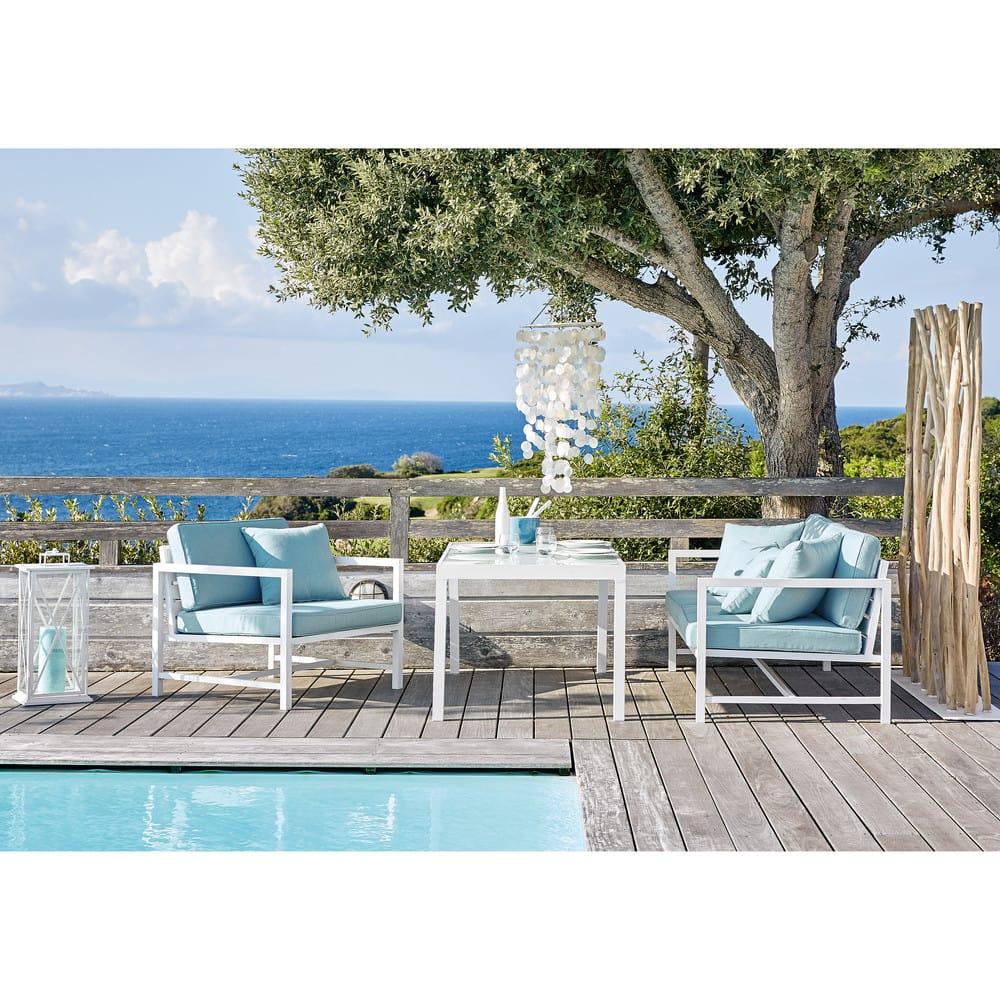 banquette de jardin 2 3 places en aluminium blanc et. Black Bedroom Furniture Sets. Home Design Ideas