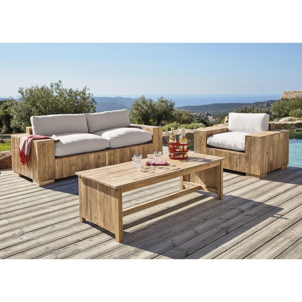banquette de jardin 2 3 places en teck et coussins crus. Black Bedroom Furniture Sets. Home Design Ideas