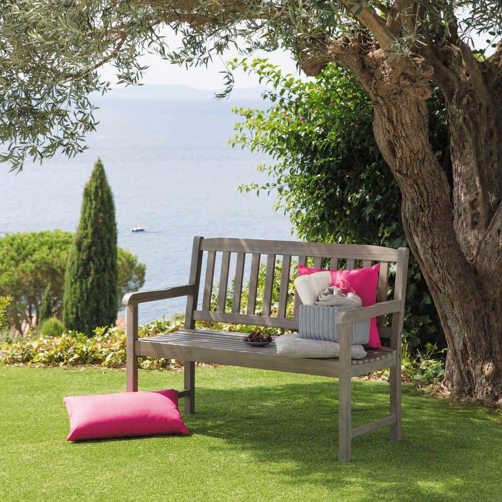 banquette de jardin 2 places en acacia gris e st malo. Black Bedroom Furniture Sets. Home Design Ideas