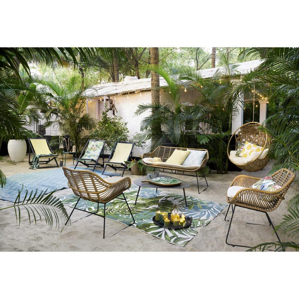 Canapé de jardin 3 places en corde tressée gris anthracite Costa ...