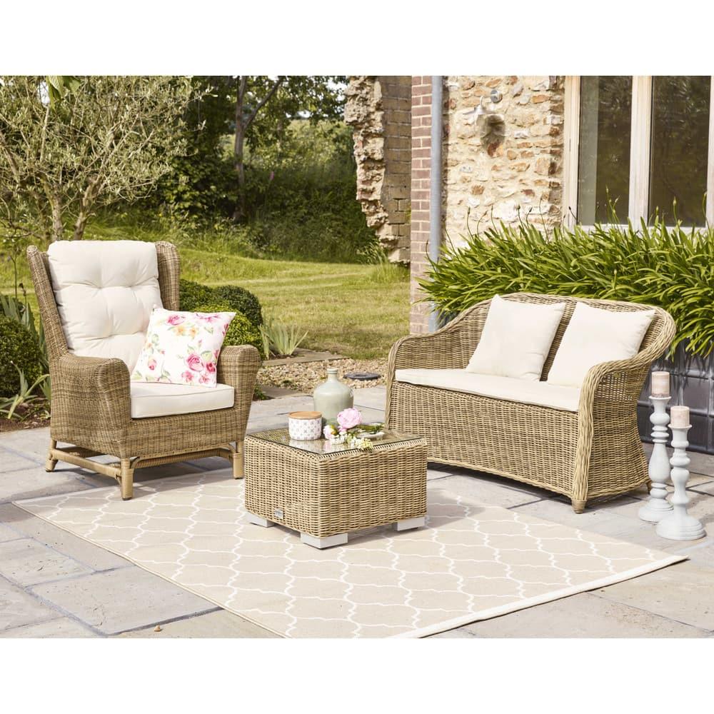 banquette de jardin 2 places en r sine tress e st rapha l. Black Bedroom Furniture Sets. Home Design Ideas