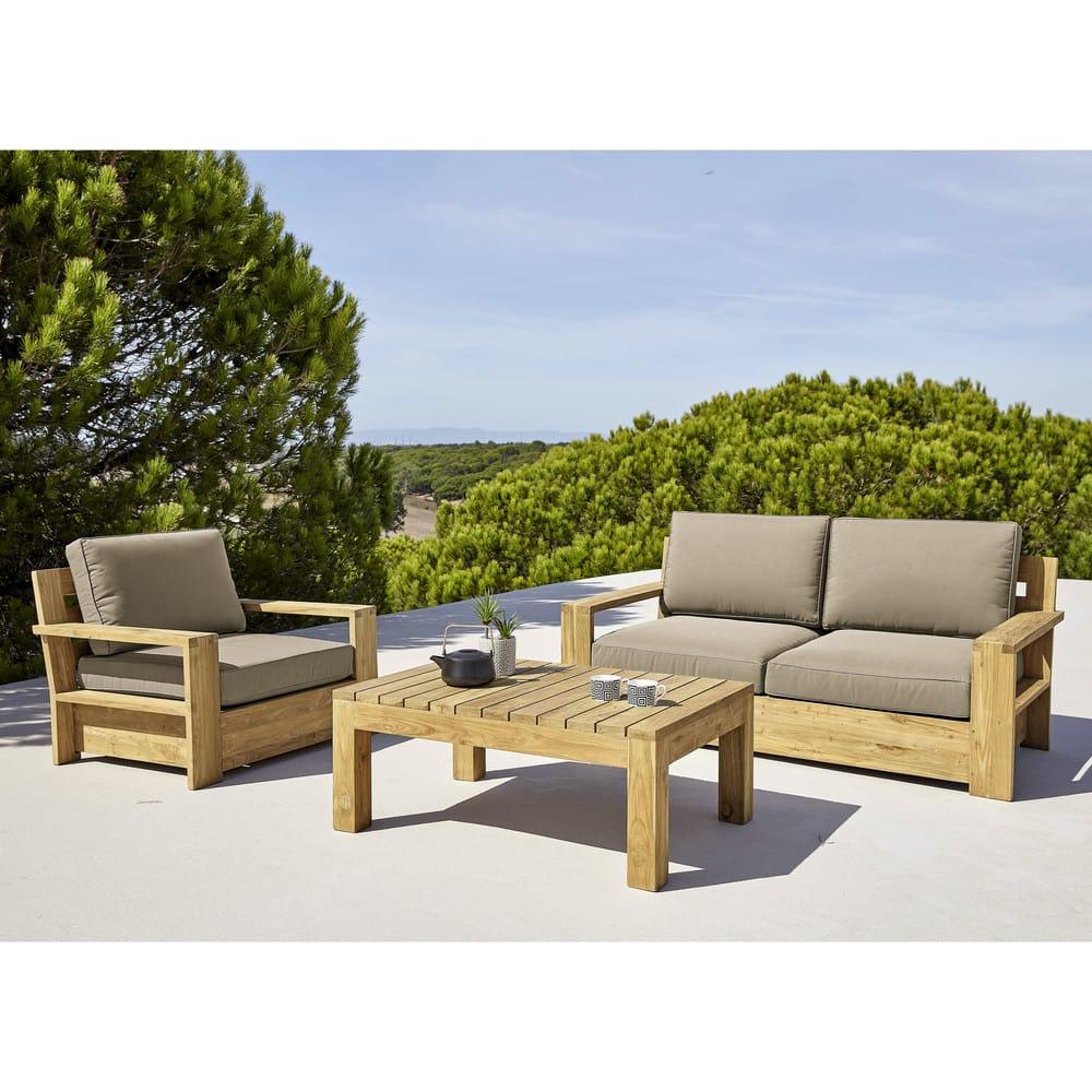banquette de jardin 2 places en teck recycl cadaques. Black Bedroom Furniture Sets. Home Design Ideas