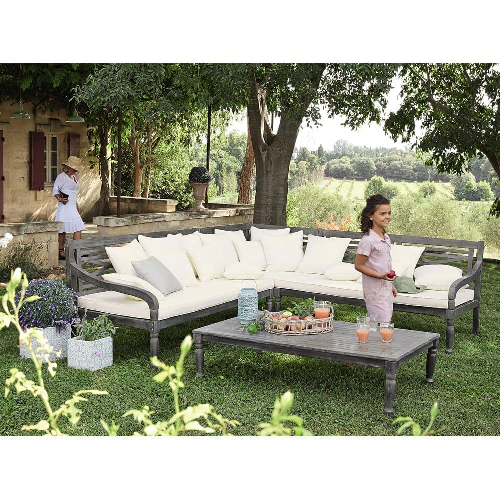 banquette de jardin 7 places en acacia chypre maisons du. Black Bedroom Furniture Sets. Home Design Ideas