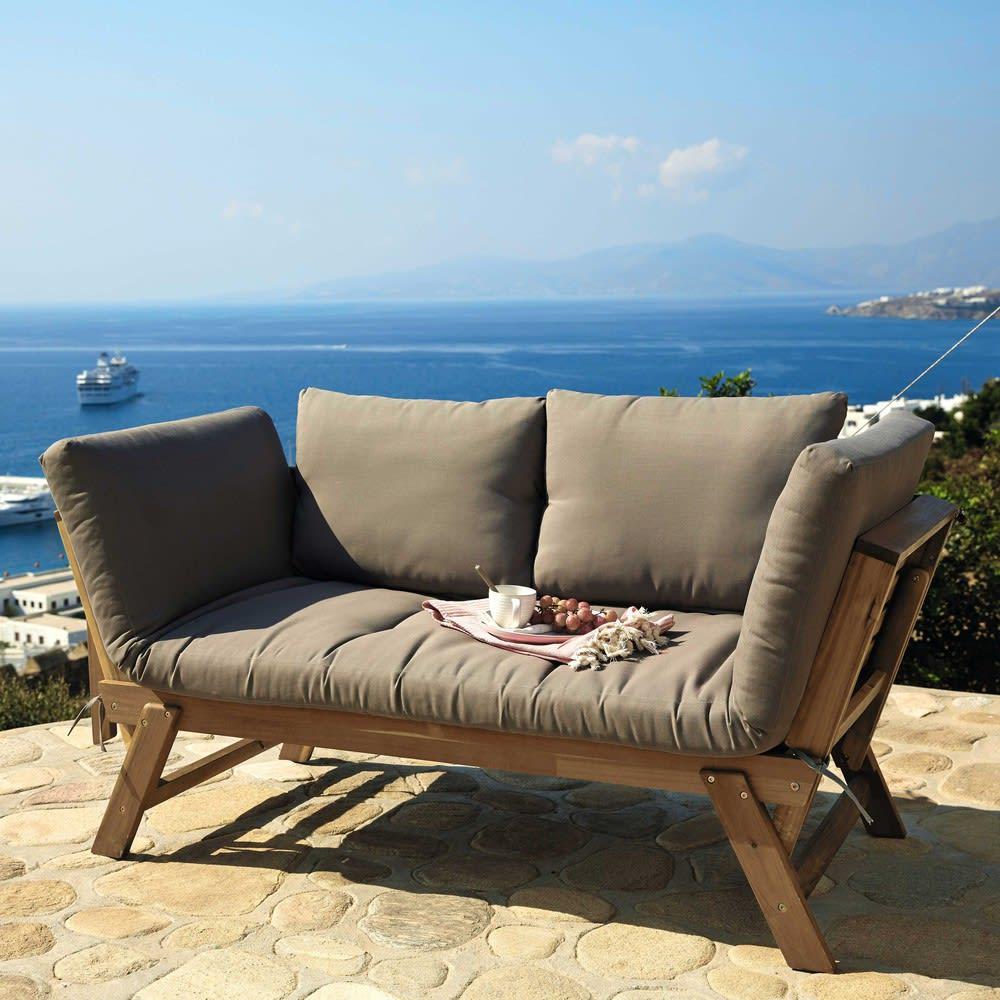 Banquette de jardin modulable 3 places en acacia Relax | Maisons du ...