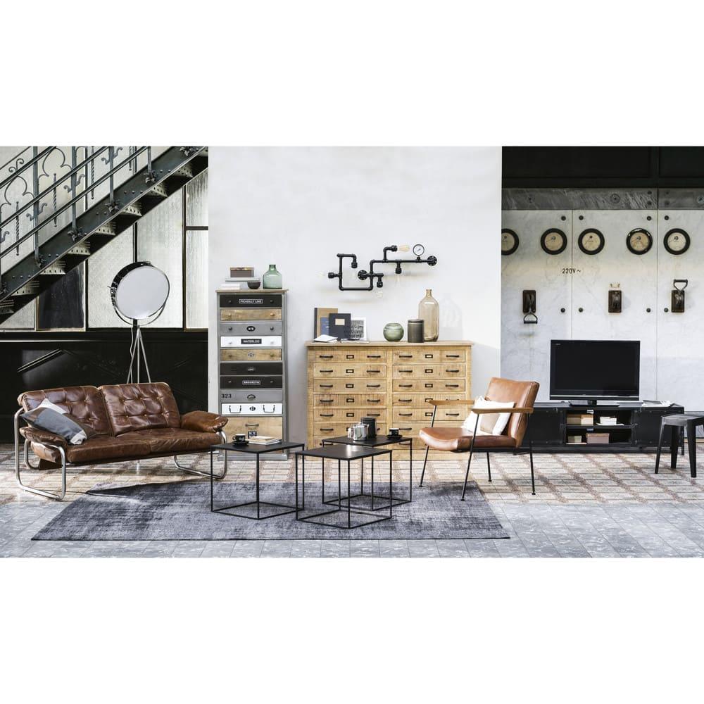 banquette vintage 2 places en cuir marron gary maisons. Black Bedroom Furniture Sets. Home Design Ideas