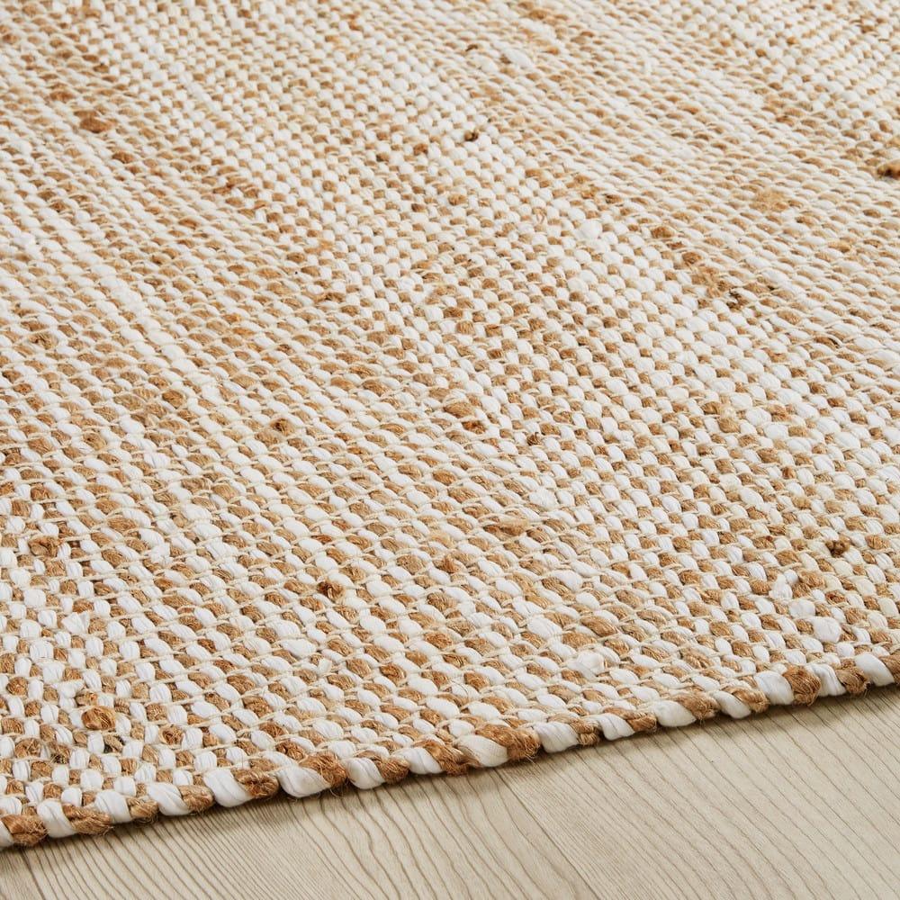Cotton And Beige Jute Rug 200 X 300 Cm