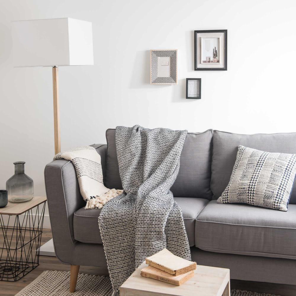 beistelltisch aus draht holzimitation und metall schwarz. Black Bedroom Furniture Sets. Home Design Ideas