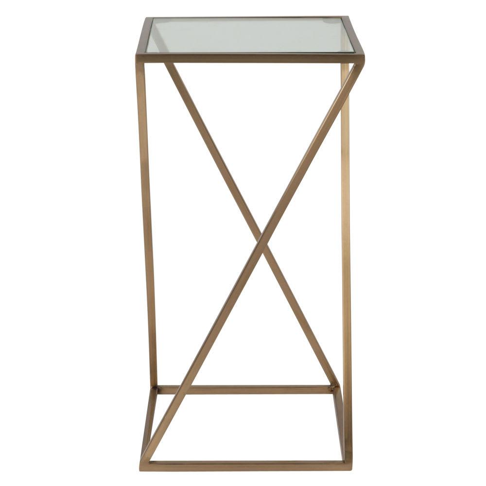beistelltisch aus glas und metall mattgold piazzela. Black Bedroom Furniture Sets. Home Design Ideas