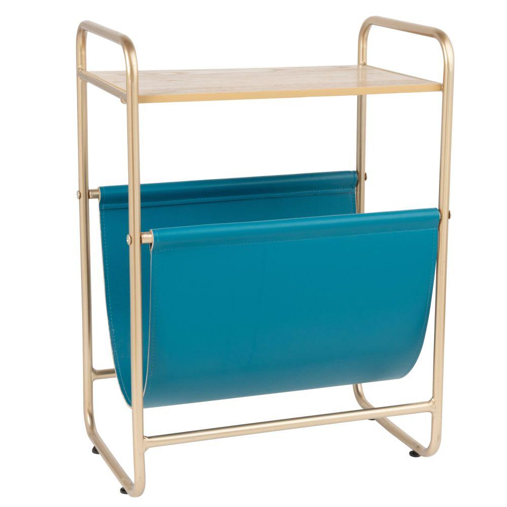 beistelltisch aus goldfarbenem metall mit zeitungsst nder. Black Bedroom Furniture Sets. Home Design Ideas